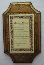 """SWEET VINTAGE ITALIAN FLORENTINE TOLEWARE WOOD MARRIAGE BLESSING WALL PLAQUE 7"""""""