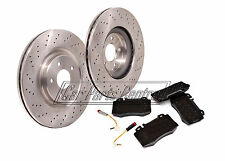 FOR MERCEDES C32 C320 C350 AMG FRONT 345mm DRILLED BRAKE DISCS BREMBO PAD PADS