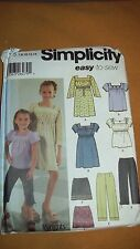 Simplicity 5722 Child's Dress Top Cropped Pants Mini Skirt - sizes 7- 14