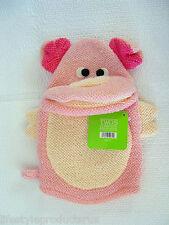 NEW TWOS COMPANY PINK FARMYARD PIG BATH BUDDY HAND PUPPET CLOTH MITT FARM YARD