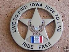 MOTORCYCLE VEST PIN IOWA LIVE TO RIDE RIDE TO + 1 BAG PIN SAVERS