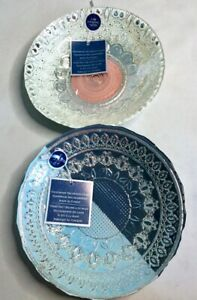 Efe Turkish Glass 100% Genuine Silver Bowl Set - Blue Silver Pink - Lot of 2