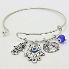 Hamsa Charm Bangle Bracelet SILVER BLUE Protect Hand Evil Eye Protection Jewelry