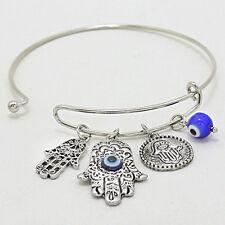 Hamsa Charm Bangle Bracelet SILVER BLUE Protect Hand Evil Eye Protection Jewelry