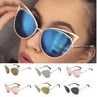 Women Retro Vintage Cat Eye Metal Frame Mirrored Sunglasses Eye Glasses Eyewear