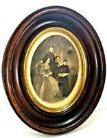 1800s Lincoln Family Pres Abraham Lincoln Steel Plate Engraving Handmade Frame