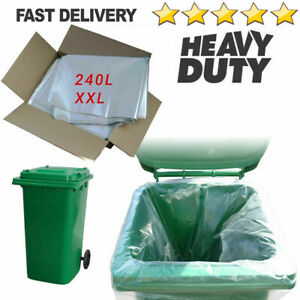 Clear Wheelie Bin Liners 240 Litre Strong Heavy Duty Rubbish Sacks Refuse Bags