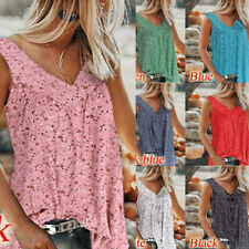 Women Summer Tunic Sleeveless T Shirt V Neck Floral print Loose Casual Blouse