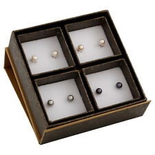 Boxed set including 6-6½mm white, natural pink, grey & black pearl studs SET-O-2
