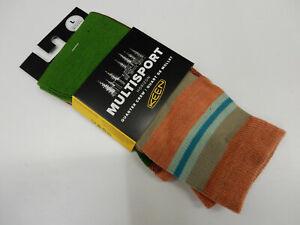 Keen Unisex Multisport Horizon Ultralite 1/4 Crew Socks Green Orange Multi L