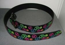 NWOT HOT TOPIC RAINBOW PEACE SIGN LEATHER BELT M 34-36 PUNK