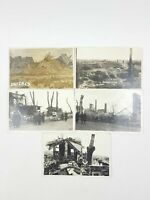 WW1 Crater Battlefield Ruins Bombing RP Real Photo Postcard ARRAS France Bundle