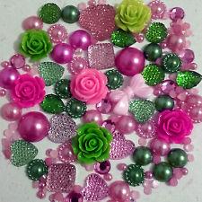 25g Pink+Green Pearls/Roses/Gem Flatback Kawaii Cabochons Decoden Craft Kitsch