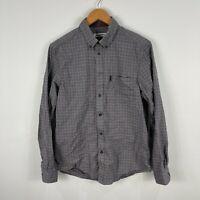 Ben Sherman Mens Button Up Shirt Large Slim Grey Plaid Long Sleeve Collared
