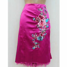 Stunning Karen Millen Pink Embroidered Floral Oriental Style Fitted Skirt 12 UK