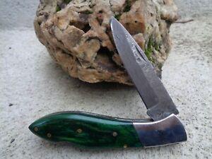 Couteau Damas Lame 128 couches Façon L'Aveyronnais Manche Bois Emeraude Artisan