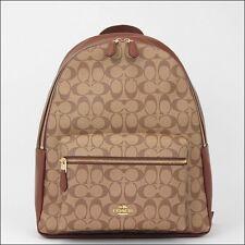 db0ea57db734ed Coach Charles Signature Khaki Saddle Backpack Leather F58314 Ime74