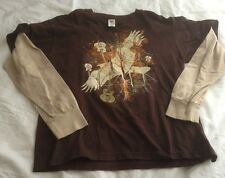 707 Electric Lead  Guitar Bass Youth Boys T Shirt Top Brown Long Sleeve L Dove