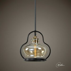 URBAN MID CENTURY MODERN METAL & GLASS PENDANT HANGING LIGHT FIXTURE LIGHTING