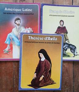 THERESE D'AVILA FRANCOIS D'ASSISE MARTYRS AMERIQUE BANDE DESSINEE LOT 3 ALBUMS
