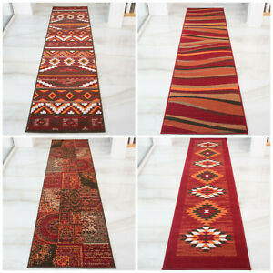 Terracotta & Red Runners | Long Narrow Hallway Runner | Cheap Rugs For Hall NEW