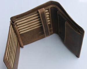 18 Karten Geldbörse Naturleder RFID/NFC Schutz Voll-Rindleder Brieftaschen