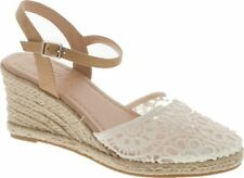 Soda Women's Closed Toe Buckle Strap Floral Lace Espadrille Sandals