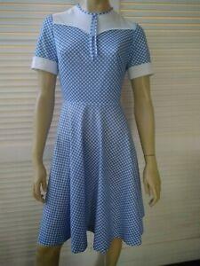 HANDMADE vintage ladies size 10 dress blue check white trim fit flare homemade