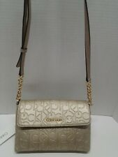 NWT Calvin Klein Gold Monogram Hudson Crossbody Hand Bag