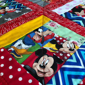 Handmade Baby Gift Play. floor roll Tummy Time Blanket/Quilted  Mickey & friends