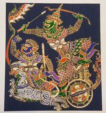 Colorful Ravana Figures Blue Thai Silk Painting Ramayana Poster Print Home Decor