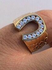 0.81 ct Round Sim Diamond Men's Horse Shoe Men's Ring in 14k Yellow Gold Plated