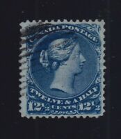 Canada Sc #28 (1868) 12&1/2c Dark Blue Large Queen Used