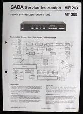 SABA HiFi 243 - AM FM Synthesizer Tuner MT 280 Schaltbild Service-Instruction