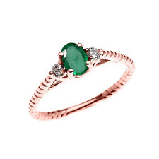 Rose Gold Solitaire Emerald & White Topaz Engagement Promise Rope Design Ring
