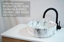 CARRARA Round Carrara Marble Luxe Designer Above Counter Vessel Bowl Basin Sink