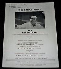 Rare Igor Stravinsky Program Last East Coast Performance Miami February 1967