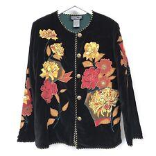 Indigo Moon velvet blazer jacket floral embroidery kaftan boho art hippie S