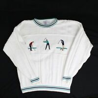 Cape Isle Knitters Mens Golf Sweater Size XL White 100% Cotton Embroidered