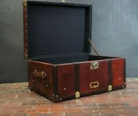 Chestnut Brown English Handmade Leather Coffee Table Trunk