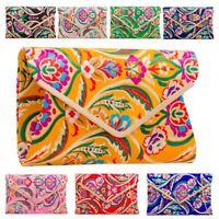 New Women's Satin Multicolour Embroidered Bridal Prom Clutch Bag Purse