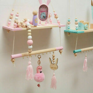 Wall Hanging Rope Swing Shelf Tray Beads Rack Nursery Bedroom Home Ornament