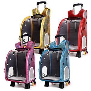 Chameleon Pet Travel Carrier Carry Bag wheels Cat Dog Backpack Portable Trolley
