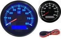 1pc 85mm 0-8000RPM Blue Backlight Rev Counter LCD Tachometer Gauges for Car Boat