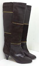 LINA KAPLAN Brown Suede & Leather Winter Boots Ladies 7.5 B N Gold Trim Spain