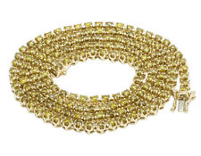"""10K Yellow Gold Real Canary Diamond Tennis 1 Row Chain Necklace 7 1/2 CT 22"""""""