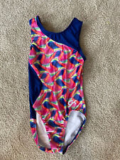 Gk Elite Gymnastics Leotard Girl's Child Large Rainbow Velour Cl Bodysuit