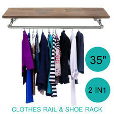 35'' Industrial Retro Silver Iron Pipe Clothes Rail Shoes Wooden Rack Wardrobe