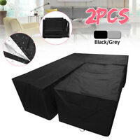 2pcs Outdoor Rattan Corner Garden Furniture Sofa Cover Patio Table Protector Set