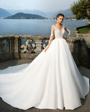 Boat Neck Royal Train Princess Wedding Dress Luxury Appliques vestidos de novia